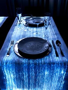 luminous tablecloths made of fiber optics fabric, so cool and unique thus a must have!