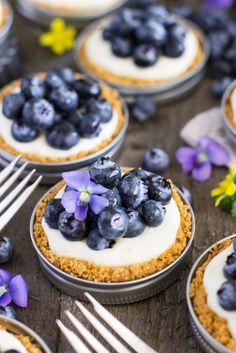 Easy lemon blueberry tarts (in mason jar lids) dessert shooters, dessert in Mini Desserts, Blueberry Desserts, Just Desserts, Blueberry Tarts, Plated Desserts, Mason Jar Pies, Mason Jar Desserts, Mason Jar Meals, Dessert Shooters