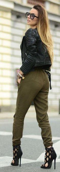 #spring #summer #fashionistas #outfitideas |Biker + Cargo Pants |Hypnotizing Fashion