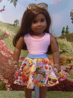 Tank Top and Emoji Skirt for american Girl Dolls