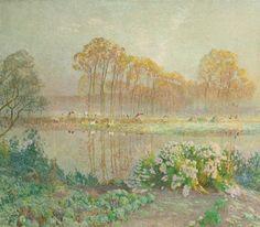 Emile Claus - Landschap met vijver en bloei