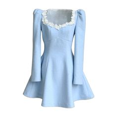 6799bad318 New Elegant Women s Flannel Flouncing Bowknot Lace Blue Dress