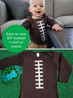 Super Bowl Craft Idea: Make A No-Sew Football T-Shirt Or Onesie