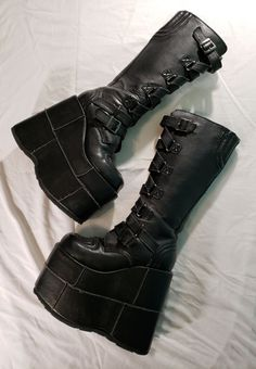 Demonia By Pleaser Stacked Strap Boot on Mercari Dr Shoes, Hype Shoes, Sock Shoes, Me Too Shoes, Shoe Boots, Shoes Heels, Look Fashion, Fashion Shoes, High Platform Shoes