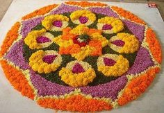 Latest Onam Pookalam Designs - Various rules for designing . Rangoli Designs Flower, Rangoli Ideas, Rangoli Designs Images, Rangoli Designs Diwali, Flower Rangoli, Flower Designs, Diy Diwali Decorations, Tent Decorations, Festival Decorations