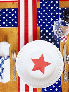 Decorate picnic tables with patriotic banners. More ideas: http://www.bhg.com/holidays/july-4th/crafts/patriotic-picnic-serving-ideas/?socsrc=bhgpin061812#page=7