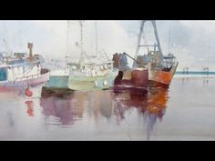 Watercolour demonstration - How to paint boats, water and reflections #2 - YouTube