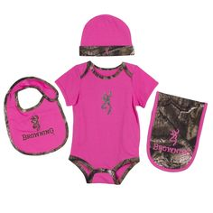 Camo Bodies: spandex jersey, Solid Bodies: spandex jersey, Mossy Oak Break-Up Infnity® camo accents Set includes: bodys Baby Girl Camo, Camo Baby Stuff, Baby Girls, Camo Outfits, Kids Outfits, Mossy Oak Baby, Camo Kids, Pink Camo, Baby Sister