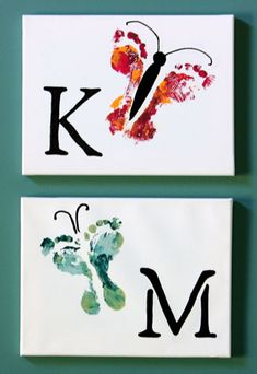 Kid's footprint art. - Top 28 Most Adorable DIY Wall Art Projects For Kids Room Crafts To Do, Crafts For Kids, Arts And Crafts, Party Crafts, Family Crafts, Beach Crafts, Summer Crafts, Kids Diy, Clay Crafts