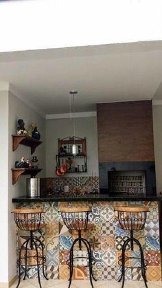 Small Space Interior Design, Interior Design Kitchen, Kitchen Tile Diy, Kitchen Backsplash, Backsplash Ideas, Interior Design Living Room, Living Room Designs, Spanish Interior, Rustic Backyard