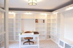 Getting a built in library look with Billy bookcases is possible. Perfect for a home office!