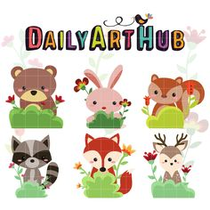 FREE Cute Animal Forest Hiding In The Bush Clip Art Set