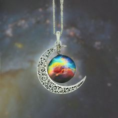 Silver and Glass Galaxy Pendant Necklace [12 variations]