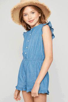 a74b1332618 Button-Down Denim Romper - Girls Clothing   Fashion - Hayden Girls Girls  Fashion Clothes