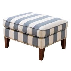 bowery hill fabric ottoman in blue and ivory - bh-592454