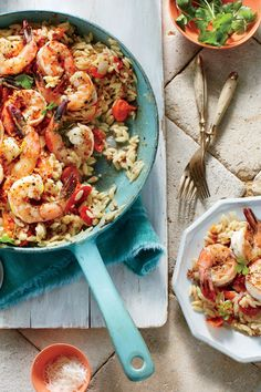 Quick-Fix Pork Chop Suppers: Gulf Shrimp Orzo