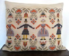 Danish vintage handmade pillow w. folk embroidery by CuriousLouis