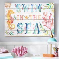 """Katie Daisy """"Swim In The Sea"""" Watercolor Art (PT)"""