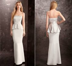 White by Vera Wang Sterling Peplum Bridesmaid Dress. If only it came in yellow!