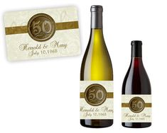 Delight your guests with these beautiful 50th Wedding Anniversary mini-champagne, wine, or champagne bottle labels for your 50th anniversary