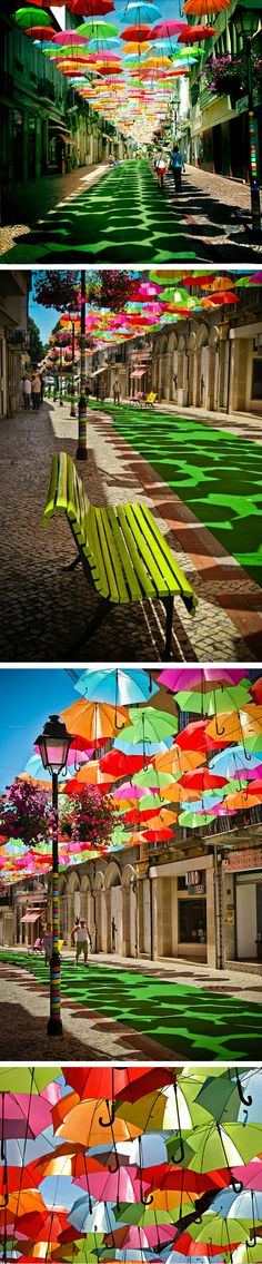 """Umbrella on summer"" This installation in Agueda, Portugal, helps withstand the high temperatures in a very curious way."