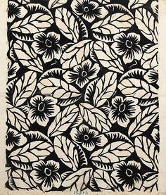 Raoul Dufy, Design no. a flower and veined leaf design, black bodycolour on paper - 58 x Large framed print with logo or images of coffee using this background. Motifs Textiles, Textile Prints, Textile Patterns, Surface Pattern Design, Pattern Art, Pattern Flower, Motif Floral, Floral Prints, Raoul Dufy