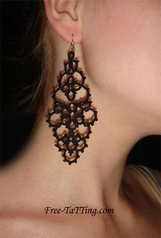 crochet earrings patterns free | Materials: a kapron thread and a bead.