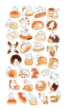Cute Food Drawings, Cute Kawaii Drawings, Cute Animal Drawings, Kawaii Art, Japon Illustration, Cute Illustration, Cute Food Art, Cute Art, Kawaii Stickers