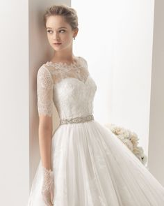 2014 Two by Rosa Clara Collection - Lace jacket for over a strapless wedding dress with sweetheart neckline
