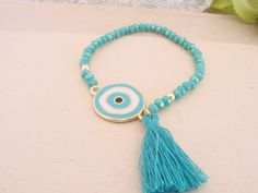 Gorgeous Turquoise Handmade Evil Eye Tassel Bracelet Greek Mati by ForThatSpecialDay on Etsy