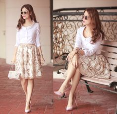 Mayo Wo - Burberry White Shirt, Razan Alazzouni Embroidered Skirt - Roman holiday