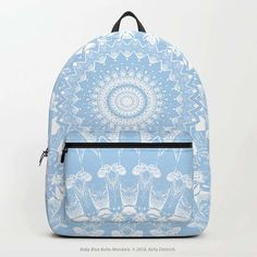 Baby Blue Boho Mandala Backpack