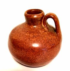Vintage Pottery Little Brown Jug with Handle Redware Tiny 2.5 inches Tall