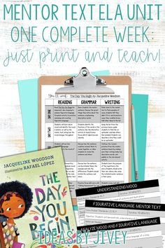 Check out this unit that includes a week of detailed plans that teach figurative language, mood, modifiers, and celebrating our differences using the book, The Day You Begin by Jacqueline Woodson. Mentor Sentences, Mentor Texts, Teaching Grammar, Teaching Time, Figurative Language, Writing Lessons, The Book, The Unit, Mood