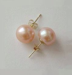 8-9mm Solid Gold AAA Pink Fresh Water pearl studs, 14K Gold earring studs, Bridal, Mother, Anniversary,Valentine Gift