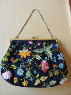 72a31be7858f Vintage Crewelwork Embroidery Handbag by PickleRose on Etsy Silk Ribbon  Embroidery