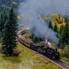 A train travels the Durango and Silverton Narrow Gauge Railroad on its way to Silverton Colo. on Sept. 29 2015 (Photo by Damon Shaw @yourtake) #Colorado #fall #trains #railroads by usatoday