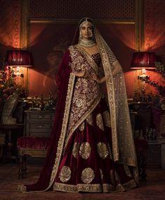 Buy Bollywood Sabyasachi Mukherjee Inspired velvet Maroon lehenga in colour from India Indian Bridal Lehenga, Indian Bridal Outfits, Indian Bridal Fashion, Indian Bridal Wear, Pakistani Bridal, Indian Dresses, Wedding Dress, Bridal Dresses, Wedding Wear
