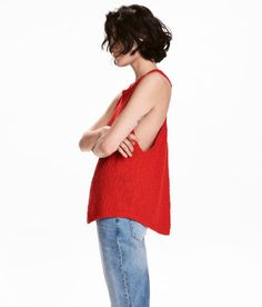 Check this out! Sleeveless, relaxed-fit top knit in ribbon yarn made from a cotton blend. Deep armholes, racer back, and rounded hem. - Visit hm.com to see more.