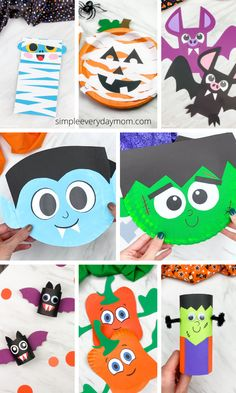 If you're looking for some easy and fun Halloween crafts for kids check out these ones. We've got vampires, Frankenstein, bats, witches and more! Download the free printable template and make with preschool, pre-K, kindergarten, and elementary age children. Quick Halloween Crafts, Halloween Activities, Halloween Fun, Craft Projects For Kids, Kids Crafts, Craft Ideas, Sugar Skull Crafts, Candy Corn Crafts, Cute Crafts