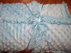 New Handmade Silky Soft Baby Blue Minky Rag Quilt    This Dreamy Baby Blue Silky Soft Minky baby quilt is made 3 layers fabric. For the top I