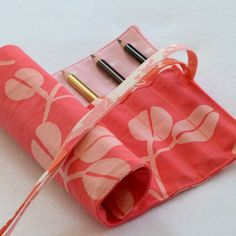 Waldorf Inspired Pencil Roll in Handprinted Pink Cotton by LilaKids, $15.00. Free US Shipping.