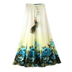 2017 Summer Bohemian Long Skirt Chiffon Vintage Faldas Largas Elegant Print Saia Longa Ladies Casual Maxi Skirts Women Clothes