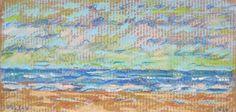 """Hector Perlas """"Atardecer"""" Óleo pastel sobre cartón  15 x 28 cm. Año 2014  Firmado abajo a la izquierda  http://www.portondesanpedro.com/ver-producto.php?id=12722"""