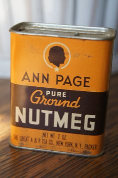 Vintage Antique RETRO Spice Tin Ann Page silhouette  NUTMEG 1950s pumpkin orange and brown on Etsy, $9.99