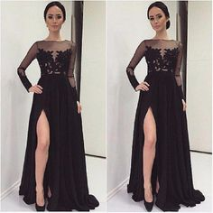 Find More Prom Dresses Information about fashion black Bridesmaid Dresses with long sleeves high slit boat neck appliques lace chiffon formal gowns plus size prom gowns,High Quality bridesmaid dresses modest,China bridesmaid prom dress Suppliers, Cheap bridesmaid dress junior from only true love topseller Store on Aliexpress.com