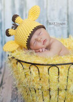 Newborn Baby Giraffe Hat...Photography Prop...choose newborn, 0-3 or 3-6 months