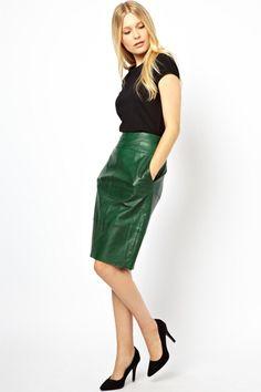 #green #emerald #leather #skirt