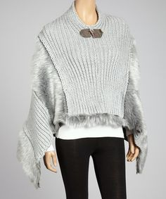 Take a look at this Light Gray Faux Fur Poncho by Yasosh on #zulily today!