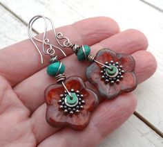 Big Bloom Earrings // Czech glass flowers by LostSparrowJewelry